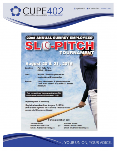 22nd Annual Surrey Employees' Slo-Pitch Tournament @ Port Kells Park | Surrey | British Columbia | Canada