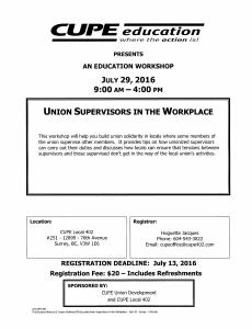 Union Supervisors In The Workplace Course @ Cupe 402 Office | Surrey | British Columbia | Canada