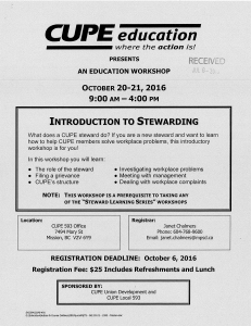 Introduction to Stewarding Course @ Cupe 402 Office | Surrey | British Columbia | Canada