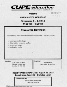 Financial Officers Course @ Cupe 402 Office | Surrey | British Columbia | Canada