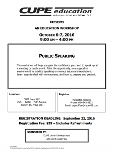 Public Speaking Course @ Cupe 402 Office | Surrey | British Columbia | Canada