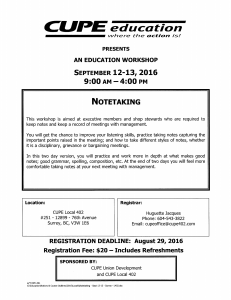 Note taking Course @ Cupe 402 Office | Surrey | British Columbia | Canada