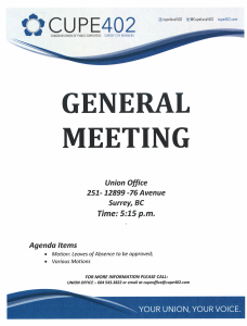 General Meeting @ Union Hall | Surrey | British Columbia | Canada
