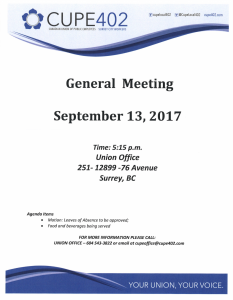 General Meeting @ Union Office | Surrey | British Columbia | Canada