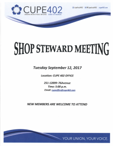Shop Steward Meeting @ Union Office | Surrey | British Columbia | Canada