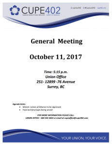 General Meeting @ Union Hall | Surrey | British Columbia | Canada