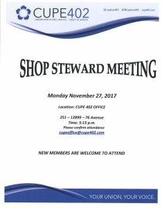 Shop Steward Meeting @ Union Office | Surrey | British Columbia | Canada