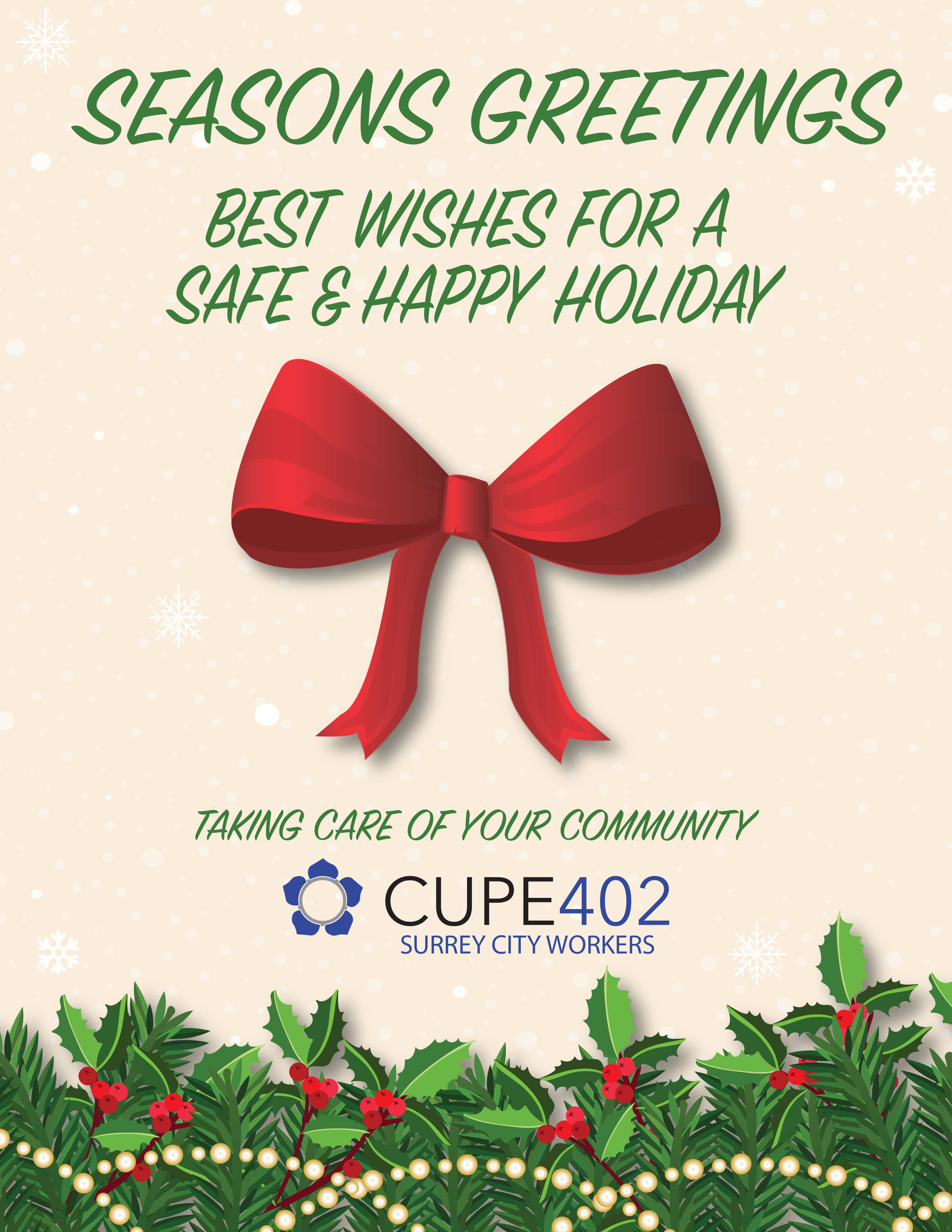 Seasons Greetings From Cupe 402 Cupe Local 402