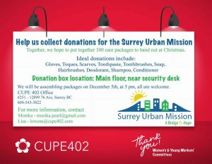 Women's/YW Committees - Assembling packages for Surrey Urban Mission