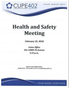 Health and Safety Meeting @ Union Hall | Surrey | British Columbia | Canada