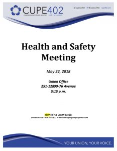 Health and Safety Meeting @ Union Office | Surrey | British Columbia | Canada