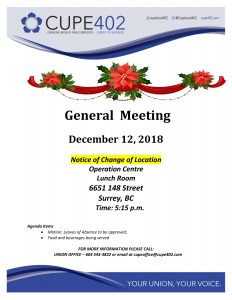 December General Meeting @ Surrey Operations Centre Lunch Room