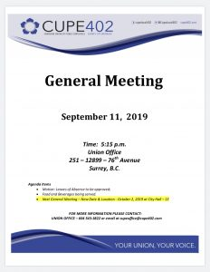 September General Meeting @ CUPE 402 Union Office