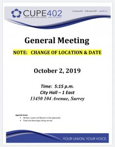 October General Meeting @ Surrey City Hall