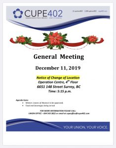 December General Meeting @ Surrey Operations Centre