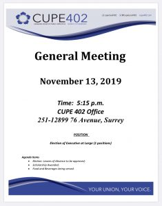 November General Meeting @ CUPE 402 Office