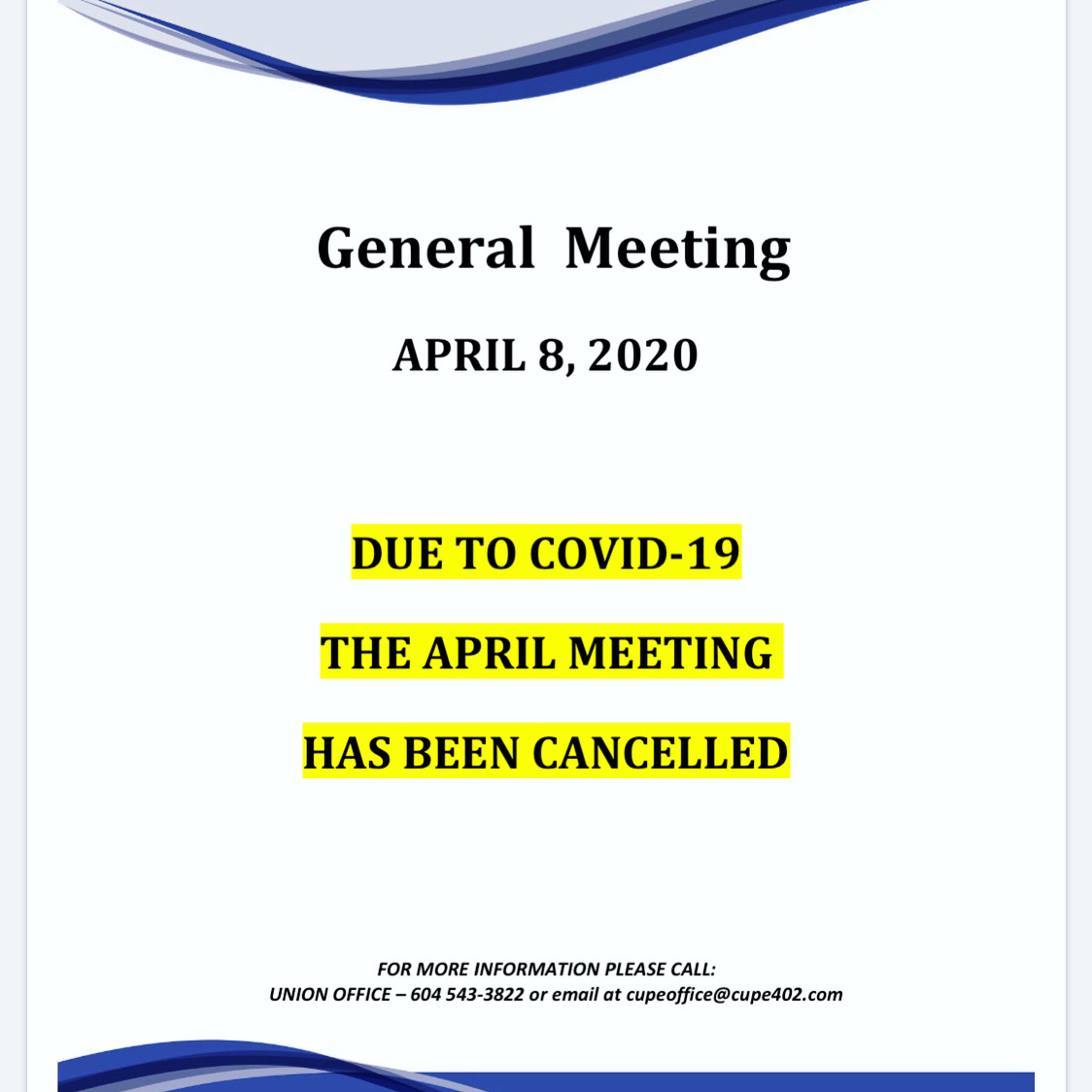 CANCELLED: April Membership Meeting