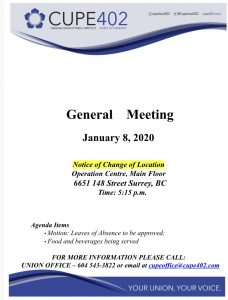 January Membership Meeting @ Surrey Operations Centre