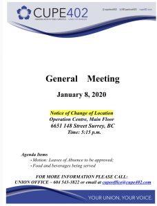 January Membership Meeting @ Surrey Operations Centre