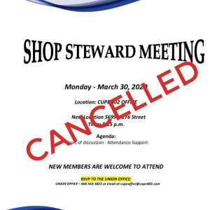 CANCELLED Shop Steward Meeting @ CUPE 402 Office