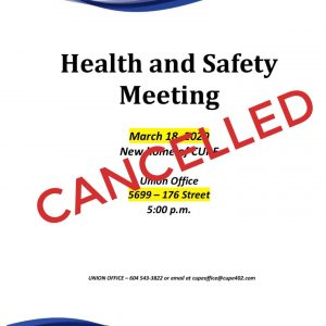 CANCELLED Health and Safety Meeting @ CUPE 402 Office