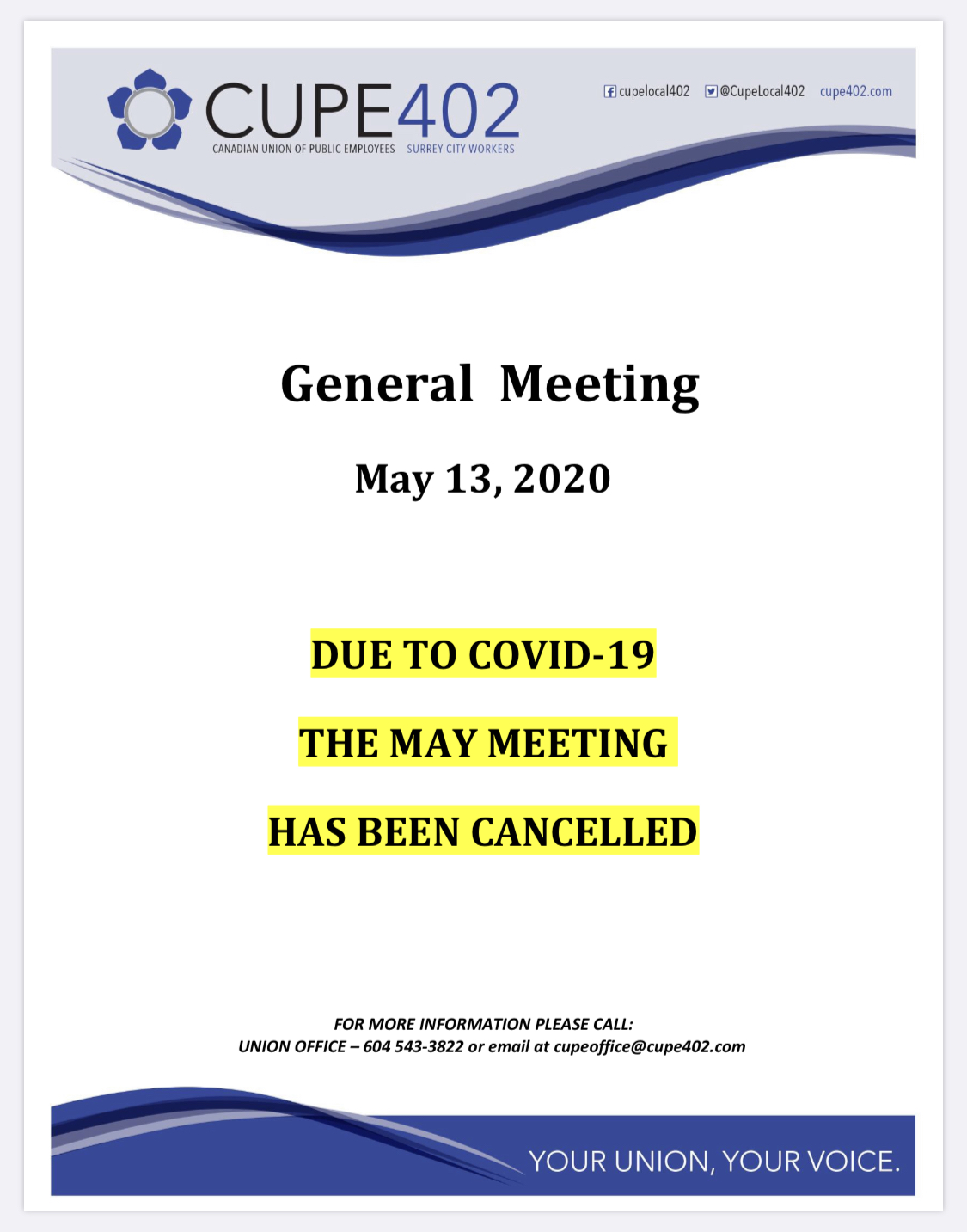 CANCELLED May Membership Meeting